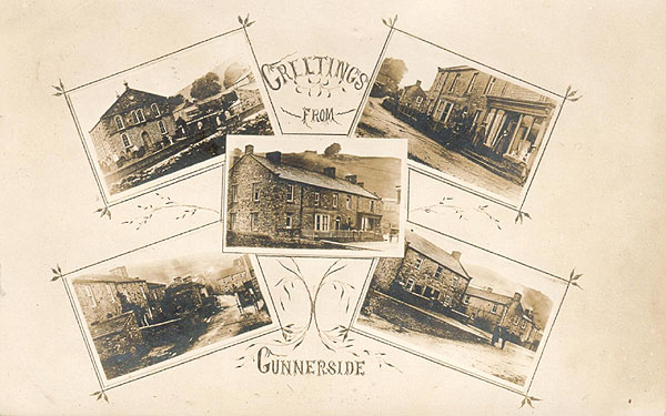 Gunnerside Greetings Postcard 1910 - Published by T Winskill, 89 Queen Victoria Road, Burnley