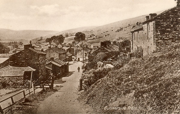 Gunnerside from Hill Top postcard 1943