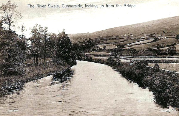River Swale from bridge postcard
