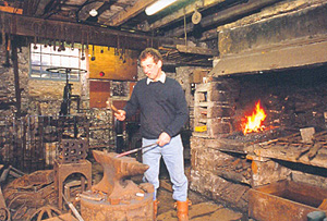 Stephen Calvert at work in The Old Smithy, Gunnerside ©Stephen Calvert