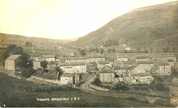 Old black and white postcard of Thwaite ©JB Smithson